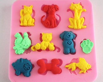 Cat dog fish bird pig silicone fondant cake molds soap chocolate mould