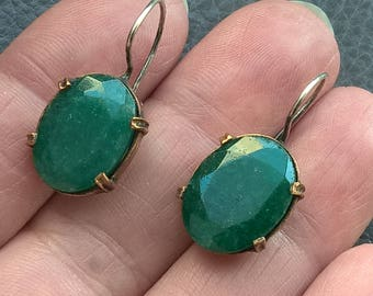 Vintage Sterling Silver Copper Natural Stone Earrings