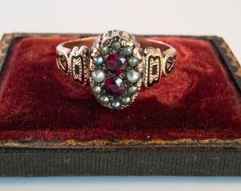 Victorian Enamel Seed Pearl & Rhodolite Garnet GF Ring