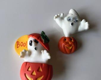Vintage Hallmark Halloween Brooch Pins, Set of Two Ghost Pumpkin Halloween Pins, Google Eye Ghost Pin & Pumpkin Ghost Pin Brooch Set