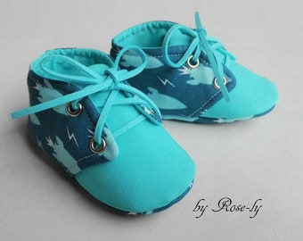 Baby booties (baby shoes) rockets turquoise