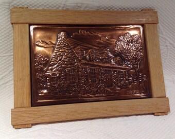Quebec traditional art - pushed copper framework - A. Nadeau - Quebec House - Folk art copper frame / / made in Quebec
