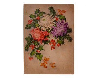 Original Vintage Color Postcard Flowers Chrysanthemum Drawing Antique 1930s Collection Old Poscard Greeting