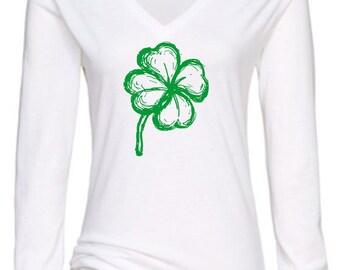4 leaf clover ladies long sleeved t-shirt