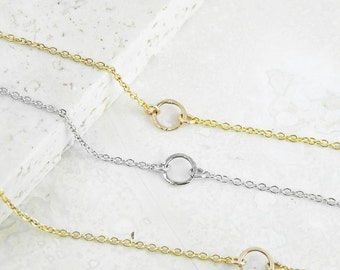 Hammered Circle Bracelet, Karma Circle Bracelet, Silver or Gold Fill,  Eternity Delicate Dainty Layered Gold Bracelet, Gift for Her