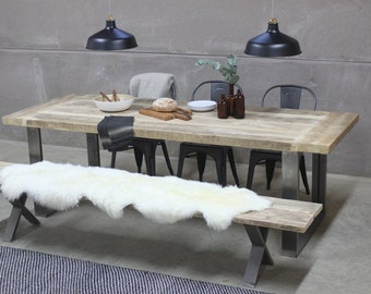 Reclaimed Industrial Dining Table with Steel Frame
