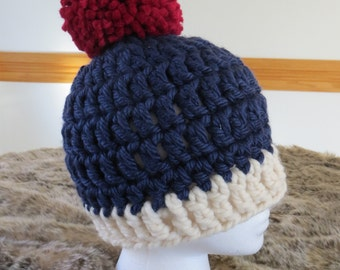 Navy, Cream, and Red Crochet Hat
