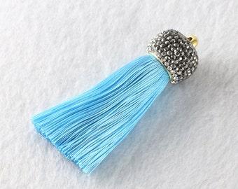 Tassels DIY Craft Supplies Lake blue Jewelry tassels Chunky tassel Short Boho tassels Small tassels Fringe Trim Womens Gift