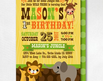 Jungle Safari 1st Birhday Invitations, Safari Birthday Invitations, Printed Safari Jungle Birthday Theme, Boy Birthday Invitations,DI-3000FC