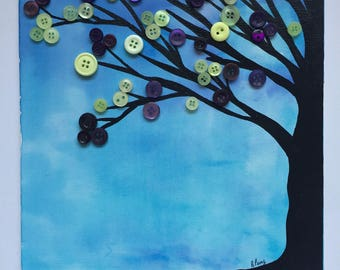 Watercolour Painting, button art, tree, Button tree, original watercolour painting, mixed media