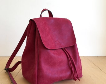 Faux Leather Red Backpack - Vegan Backpack - Water Resistant - Vegan  Leather ... 01599c48ff12d
