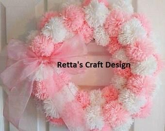Pom Pom Wreath, Wall Hanging wreath, Yarn Wreath, Grapevine Wreath, Spring Wreath, Door Wreath, Summer Wreath, Baby Wreath, Door Hanger