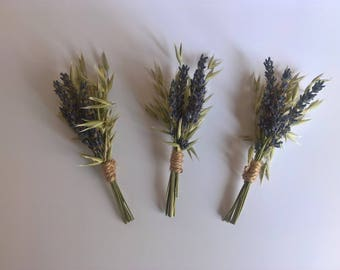 Dried Lavender & Oats Buttonhole Trio, boutonniere, rustic wedding, grooms buttonhole, country wedding, natural wedding, wedding party