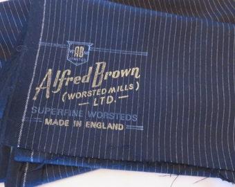 Vintage Alfred Brown Worsted Mills Superfine Luxury 100% Wool Navy Pinstripe Suiting Fabric (3m x 150cm)