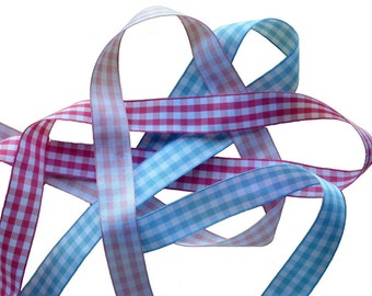 Gingham Craft Ribbon in Blue or Pink, 22 mm.