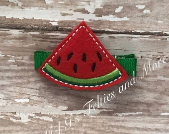 Watermelon Hair Clip / Embroidered Hair Bow / Girls Hair Accessory /Feltie Hair Clip