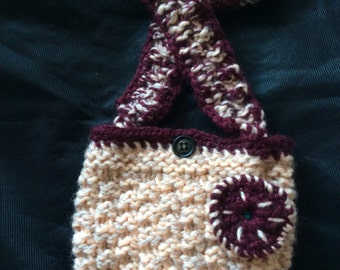 Oats and Barley.  Hand knitted  bag with strap.