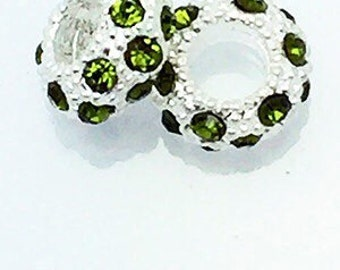 99cent Shipping*~Rhinestone Crystal Spacer Beads Emerald, 4 pcs +49cent ea addt'l item & DISCOUNTS*