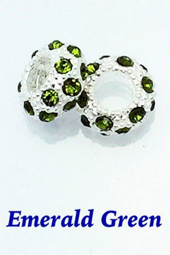 RhinestoneCrystal Spacer BeadsEmerald, 4 pcs **99cent Shipping -FREE 10+**