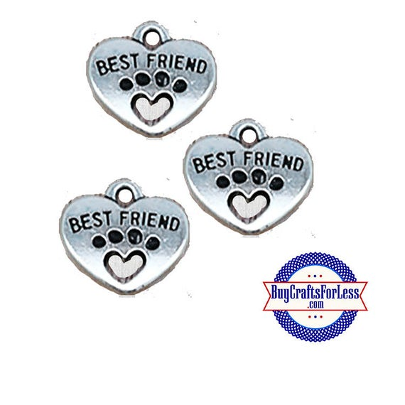 PAW Print Best FRIEND Charms, 6, 12, 25 pcs +FREE Shipping & Discounts*