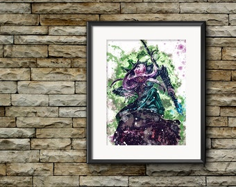 Mind Flayer Poster, D&D Artwork, Mind Flayer Print, Fantasy Art, Fantasy Giclee, Dungeons and Dragons, Man Cave Decor, Role Playing Game Art