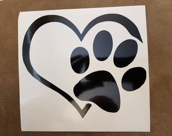 Paw Print Heart Vehicle Window Decal w/ free shipping