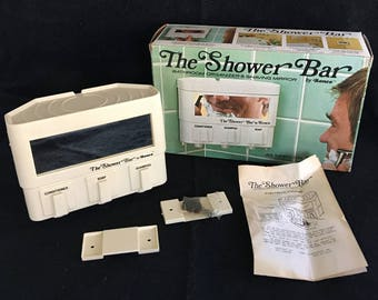 "Vintage Ronco 1977 ""The Shower Bar"" Wall-Mounted Soap Shampoo Conditioner Dispenser Bathroom Organizer Accessory with Shaving Mirror"