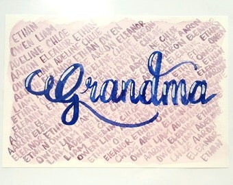 Personalized Wall Decor Customized Calligraphy for Mother or Grandmother with Handpainted Watercolor