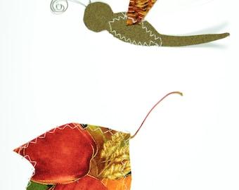 Dragonfly Handmade Fabric Card