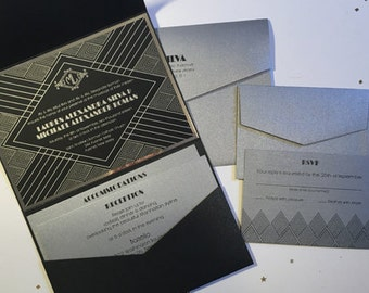 Silver & Black Art Deco Custom Wedding Invitations