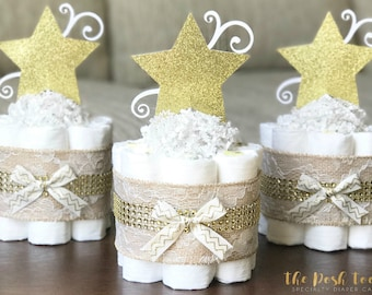 Twinkle Twinkle Baby Shower Centerpiece, Twinkle Twinkle Diaper Cake, Baby Shower Decor Gift, Little Star Gold Lace Burlap, ONE 1 Tier Mini