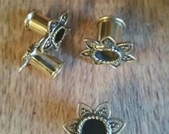 Sale Begins Now!! Brass lotus ear tunnel. ear tunnels. lotus ear tunnels. ear gauges. lotus plugs. gauges plugs. tribal ear gauges