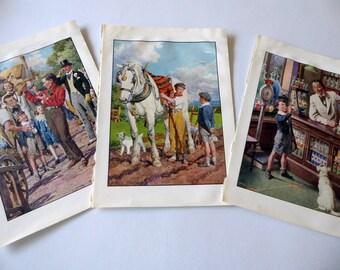 Three vintage 1940s Children's Book Pages, Book Plates, Paper Ephemera TW3