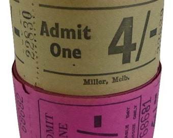 Vintage theatre admission tickets - beige and deep pink - 20 tickets