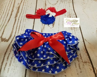 Forth of July Outfit, Independence Day, 4th of July, Red, White and Blue, Stars Bloomers