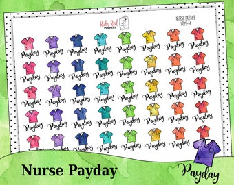 Nurse Stickers - Payday Stickers - Planner Stickers - Watercolor Stickers - Erin Condren Planner Stickers - Happy Planner - WHS-14
