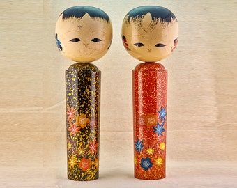 Two large Kokeshi dolls. Suitable for garden or any home decoration. Vintage, Japanese Kokeshi.