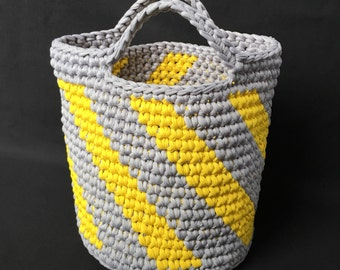 Crochet Storage basket, Handmade Basket, Crochet Basket, Basket with Handles