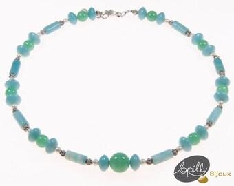 Necklace aventurine, amazonite, choker, blue, green