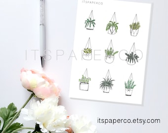 Hanging Baskets - Bullet Journal and Planner Stickers - 9 stickers