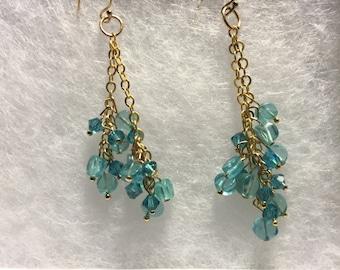 Aquamarine and Swarovski crystal earrings