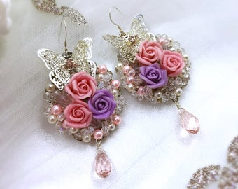 Swarovski Bridal Earrings, Crystal Earrings, Wedding Earrings, Flowers Earrings, Bridal Earrings, Rose Bridal Earrings, Luxury Earrings