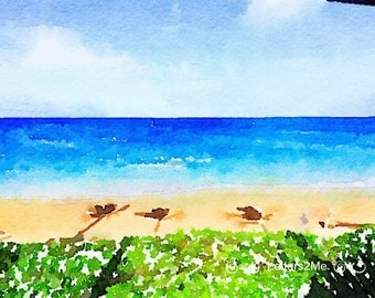 Maui Beach ~ Watercolor ~ Summertime ~ Instant Download