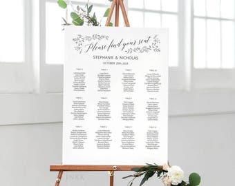 Rustic Wedding Seating Chart Template, Seating Chart Printable, Wedding Seating Plan, Editable Seating Chart PDF Instant Download #E008