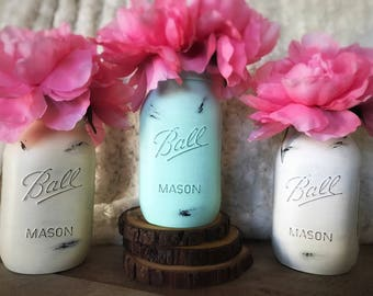 Yellow, Mint, and White Mason Jars, Baby Shower Decor, Painted Mason Jars, Party Decor, Yellow, Mint, and White, Rustic Wedding Centerpieces