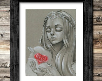 "Original Fantasy Art ""Valentines"" (PRINT) 8x10 inches - Hit by Cupid - Girl with Jewels - Hand Embellished with Rhinestones"
