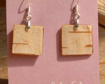 White birch bark earrings
