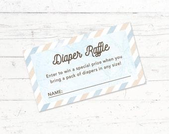 Travel Baby Shower Diaper Raffle Ticket, Printable Diaper Raffle Ticket, Digital Download