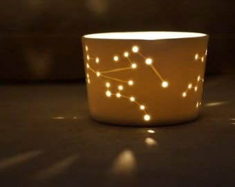 White porcelain tealight holder Star map