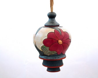 Garden Bell, Handmade Windchime, Wheel thrown Wind chime, Ceramic hanging garden decoration, Art Pottery ringing Bell, Unique  gift